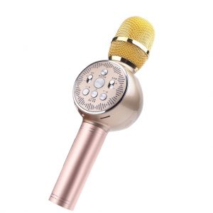 K2 Bluetooth 5.0 Dynamic Microphone Portable Wireless Car Karaoke Mic with Colorful LED Light