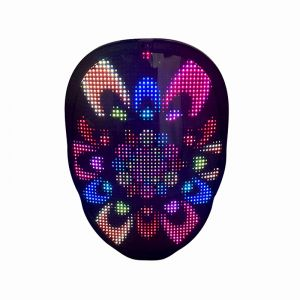 LED Display Full Color Mask Face-Changing Bright Bluetooth Mask App Control for Halloween Festival Party - AA Battery Version