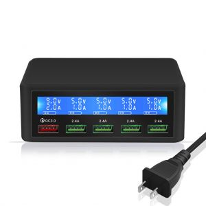 Multi-Ports QC3.0 Charger 5 USB Ports with LCD Screen