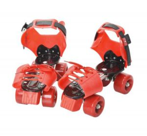 Kids Adjustable Quad Roller  Double Rows Skates Shoes for Boys Girls Red